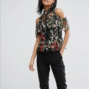 River island embroidered frill top